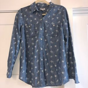 Old Navy Denim button up with floral print